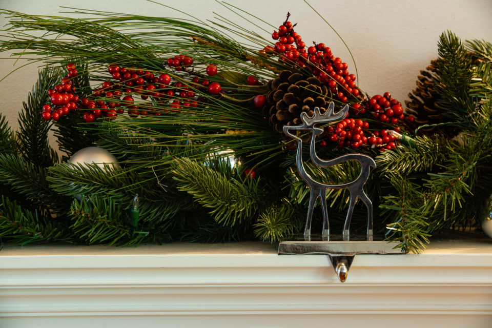 Christmas fireplace Reindeer stocking hanger and garland