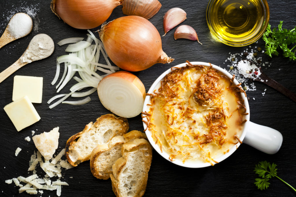 Onion soup and ingredients