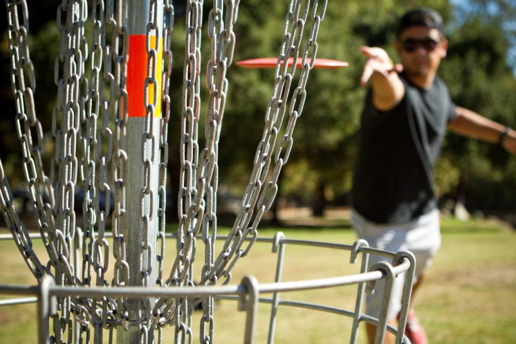 Disc golfer shows excellent form
